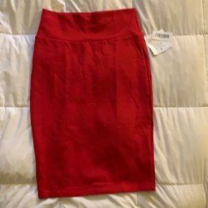 Red LuLaRoe pencil skirt (Cassie)